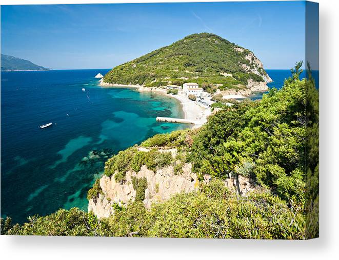 Background Canvas Print featuring the photograph Enfola Beach - Elba Island by Luciano Mortula