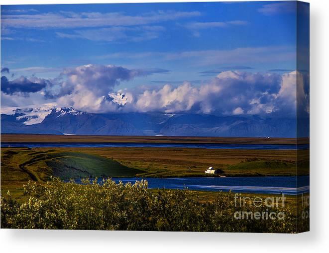 Glaciers Iceland Canvas Print featuring the photograph Evening Glacier by Rick Bragan