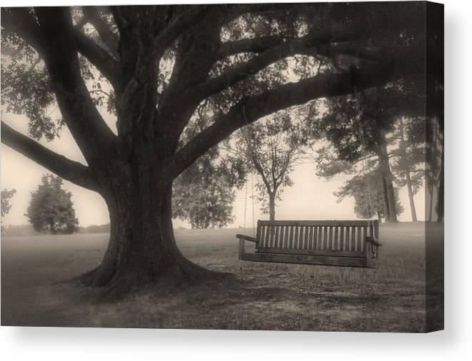 Swing On A Tree Canvas Print featuring the photograph Evening Swing - Oak Tree - Altus Arkansas by Jason Politte