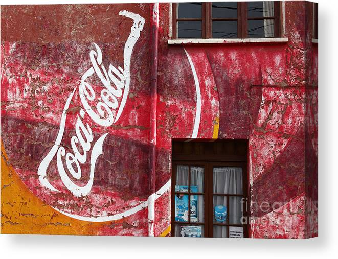 America Canvas Print featuring the photograph Faded Coca Cola Mural 1 by James Brunker