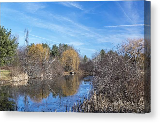 Autumn; Ecology; Environment; Fall; Nature; Pond; Scenery; Seasons; Water; Colors; Colorful; Scenic; Landscape; Canvas Print featuring the photograph Fall Reflections by Ray Summers Photography