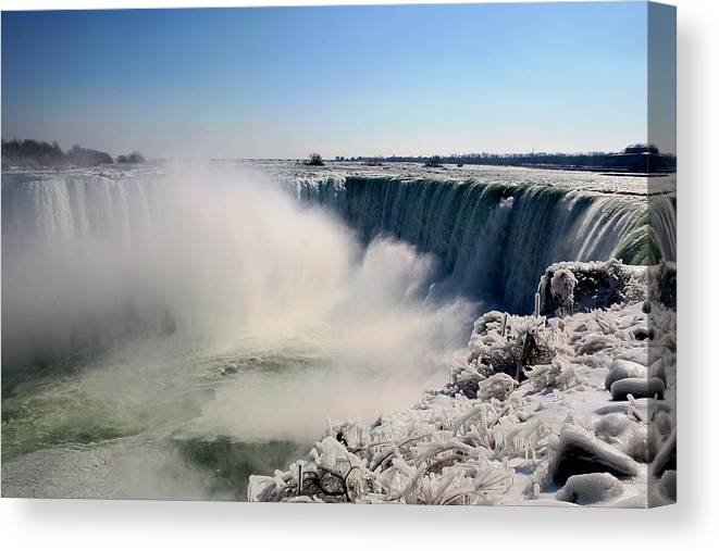 Niagara Falls Canvas Print featuring the photograph Falling Ice by Eric Swan