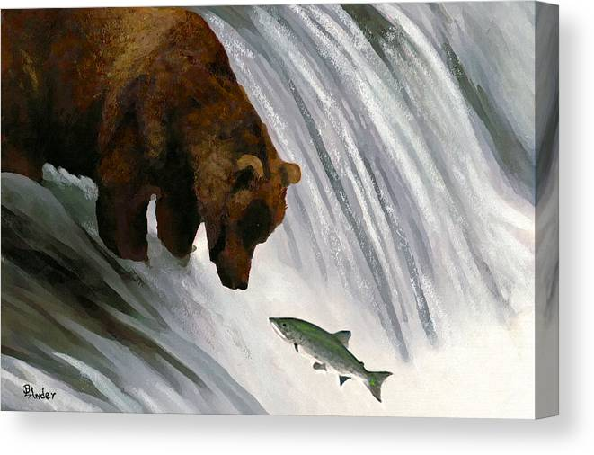 Grizzly Bear Canvas Print featuring the drawing Fast Food Delivery by Brent Ander