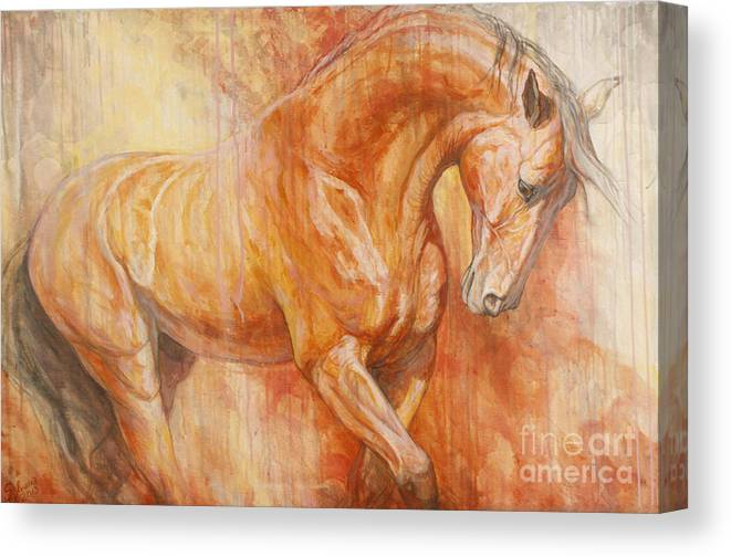 Horse Canvas Print featuring the painting Fiery Spirit by Silvana Gabudean Dobre