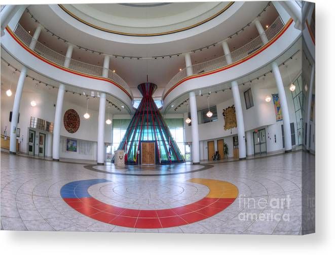 Architecture Canvas Print featuring the photograph First Nations University Of Canada Interior by Bob Christopher
