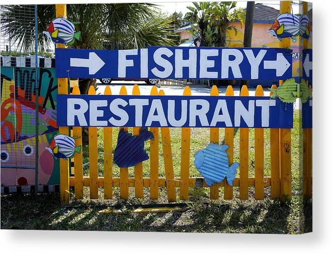 Fishery Restaurant Canvas Print featuring the photograph Fishery by Laurie Perry