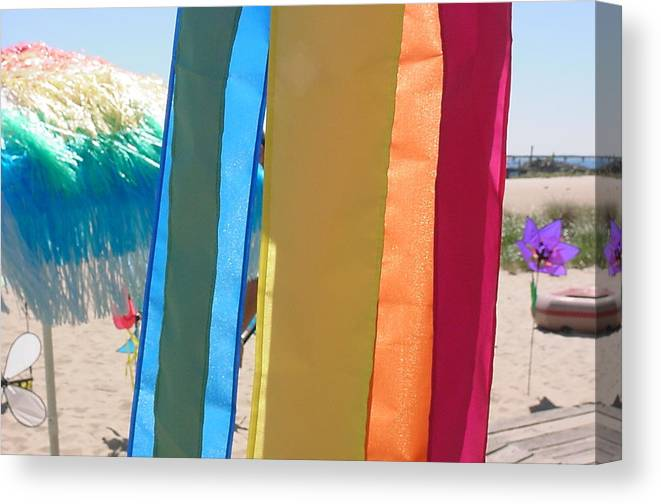 Lprovincetown Canvas Print featuring the photograph Flags In Provincetown by Mike McCool