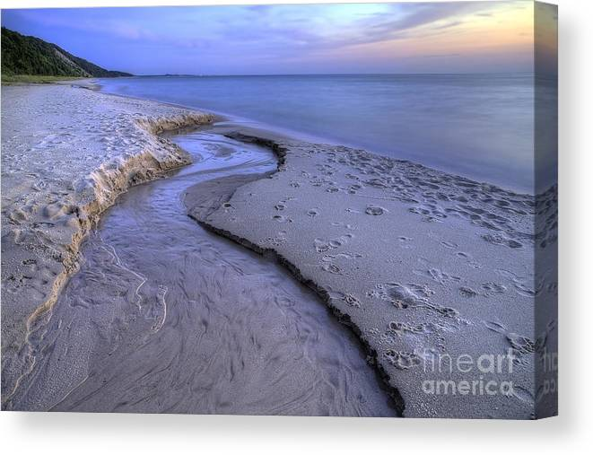Lake Canvas Print featuring the photograph Flowing Into Lake Michigan by Twenty Two North Photography