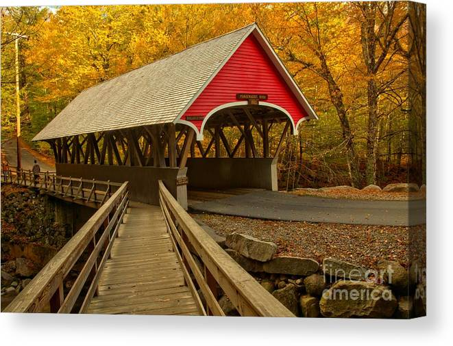 Pemigewasset River Canvas Print featuring the photograph Flume Gorge Covered Bridge by Adam Jewell