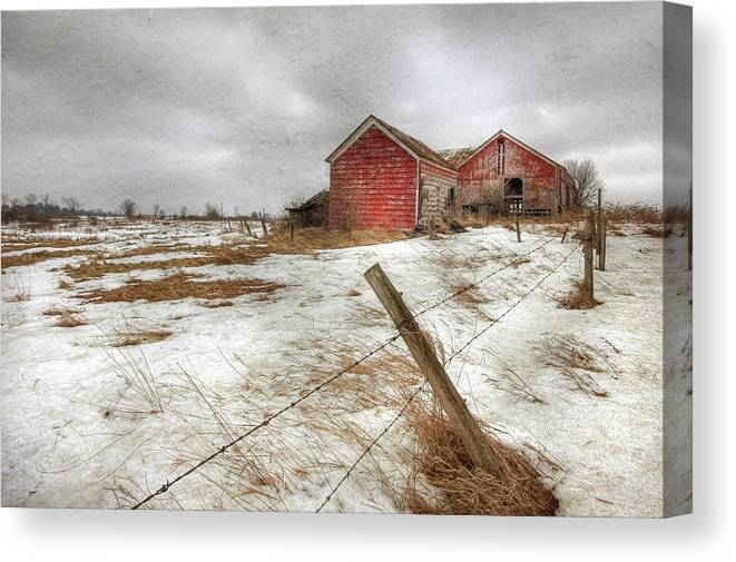 Old Red Barn Canvas Print featuring the photograph For Sale by Lori Deiter