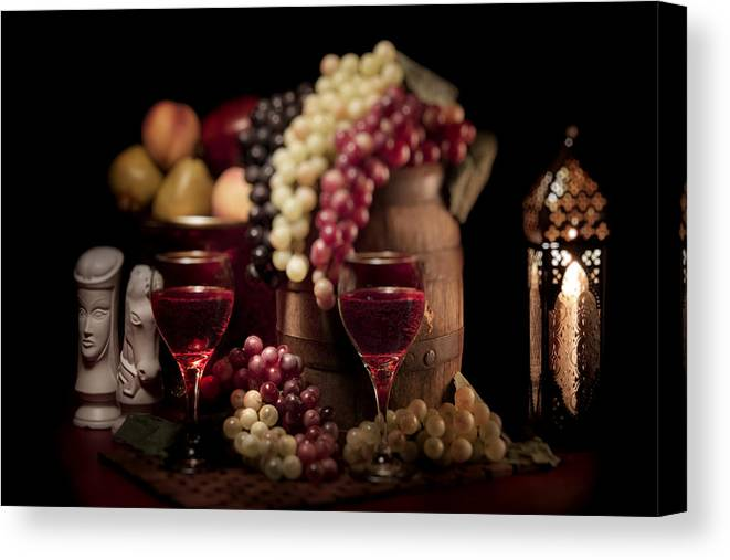 Aged Canvas Print featuring the photograph Fruity Wine Still Life by Tom Mc Nemar