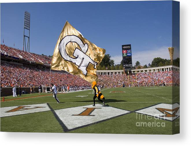 Georgia Tech Canvas Print featuring the photograph Georgia Tech Touchdown Celebration At Uva by Jason O Watson