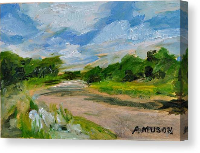 Blue Sky Canvas Print featuring the painting Getting Lost by Alex Uson