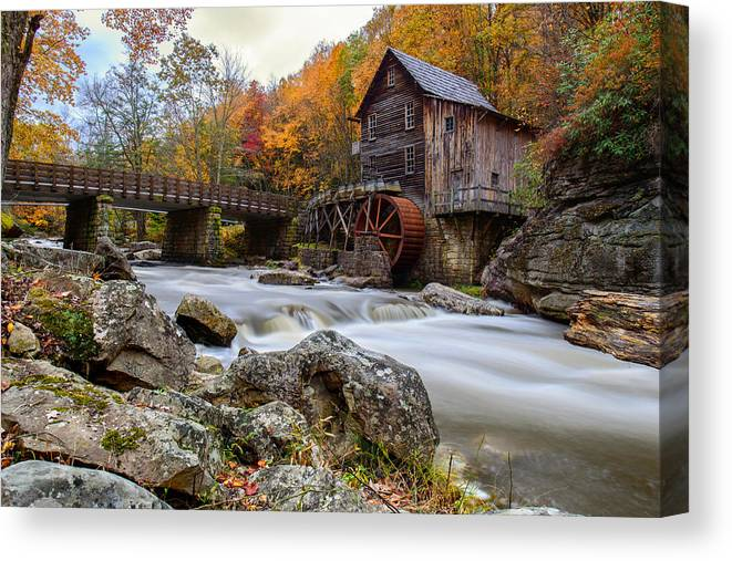 Glade Creek Grist Mil Canvas Print featuring the photograph Glade Creek Grist Mill-babcock State Park West Virginia by Dick Wood