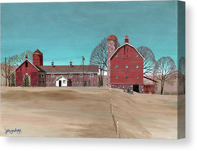 Glidden Canvas Print featuring the painting Glidden Farm by John Wyckoff