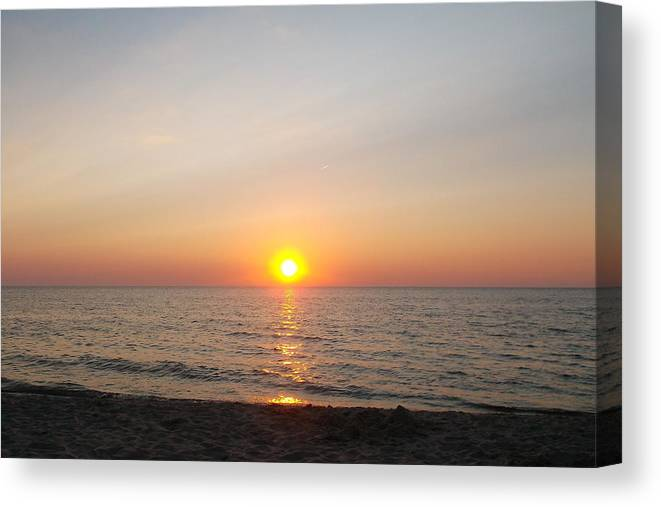 A Watercolor Sky Canvas Print featuring the photograph Glorious Lake Michigan Sunset by Sylvia Herrington