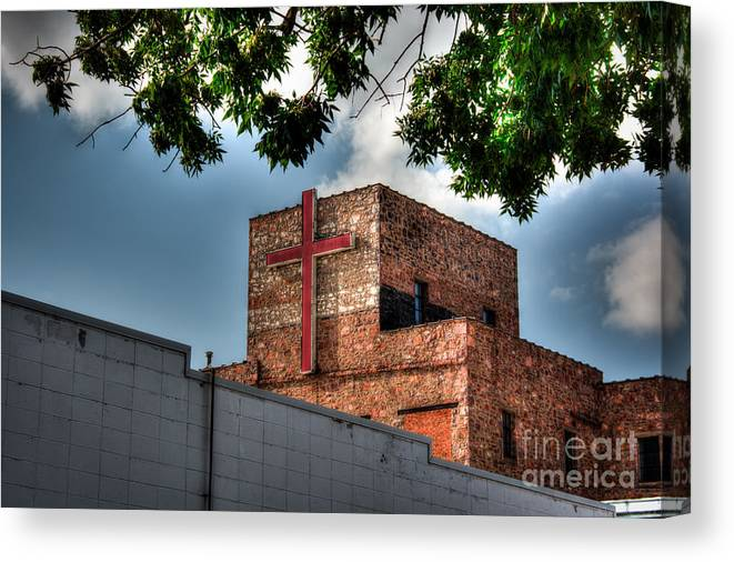 Cross Canvas Print featuring the photograph Go In Peace by M Dale