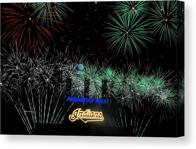 Cleveland Canvas Print featuring the photograph Go Indians by Frozen in Time Fine Art Photography