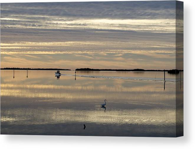 Sunrise Canvas Print featuring the photograph Going Fishing by Sandy Molinaro
