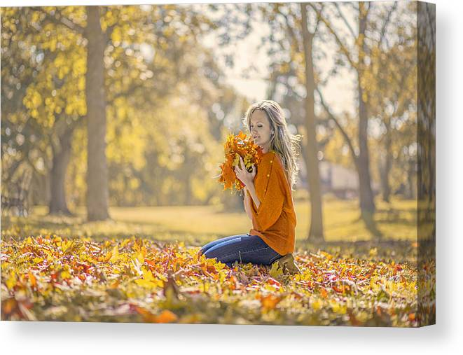Girl Canvas Print featuring the photograph Golden Fall by Evelina Kremsdorf