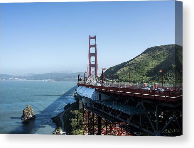 Golden Canvas Print featuring the photograph Golden Gate Bridge by Diana Weir