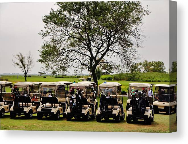 Golf Canvas Print featuring the photograph Golf Carts by Christopher Hoffman