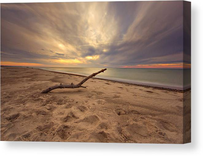 Driftwood Canvas Print featuring the photograph Grand Mere Sunset - Driftwood by Jackie Novak
