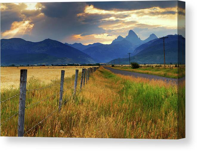 Tranquility Canvas Print featuring the photograph Grand Tetons At Sunrise From Driggs by Anna Gorin