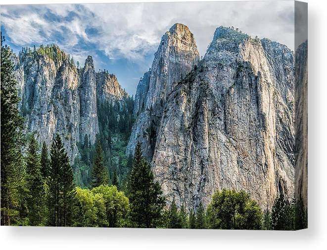 Yosemite National Park Canvas Print featuring the photograph Sentinels by Maria Coulson