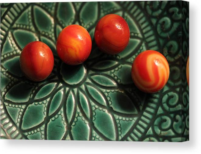 Marble Canvas Print featuring the photograph Green Bowl Red Marbles by Mary Bedy