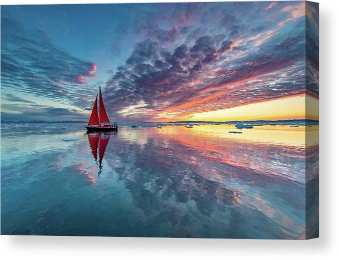 Greenland Canvas Print featuring the photograph Greenland Fire Sky by Marc Pelissier