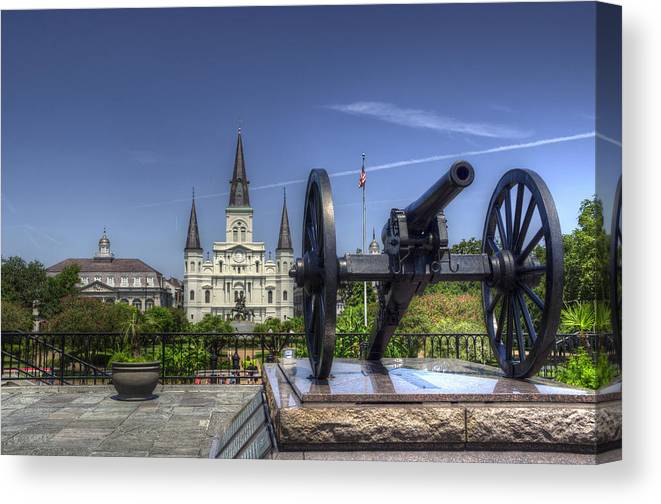 New Orleans Canvas Print featuring the photograph Gun General And God by Greg and Chrystal Mimbs