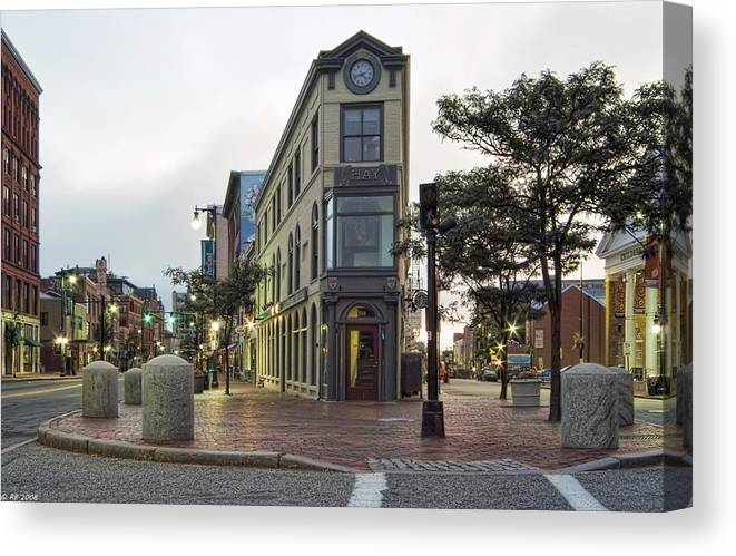 Architecture Canvas Print featuring the photograph H H Hay Building Portland Maine by Richard Bean