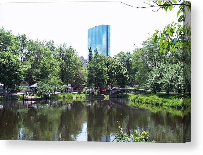 Building Canvas Print featuring the photograph Hancock Building From Lagoon by Barbara McDevitt