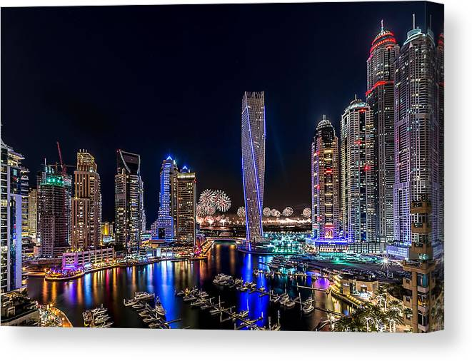 Night Canvas Print featuring the photograph Happy New Year Dubai by Vinaya Mohan