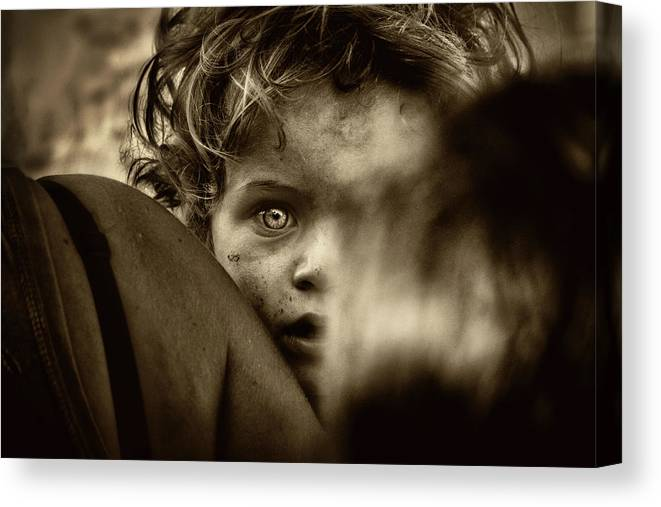 Portrait Canvas Print featuring the photograph His Look by Osher Partovi