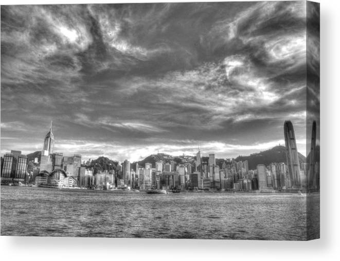 6d Canvas Print featuring the photograph Hong Kong Skylines In Bw by Anson Lee