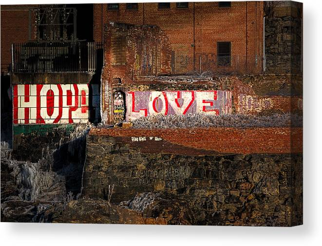 Urban Canvas Print featuring the photograph Hope Love Lovelife by Bob Orsillo