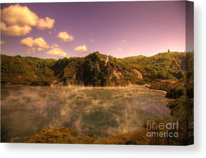 Neuseeland Canvas Print featuring the photograph Hot Water Lake by Fabian Roessler