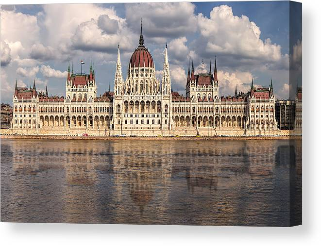 Tourism Canvas Print featuring the photograph Hungarian Parliament Budapest by Jan Fidler