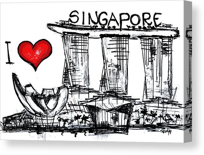 Cities Canvas Print featuring the digital art I Love Singapore by Sladjana Lazarevic
