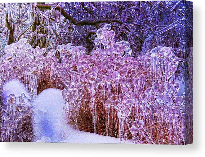 Ice Canvas Print featuring the photograph Ice Age 3 by Graham Hawcroft pixsellpix