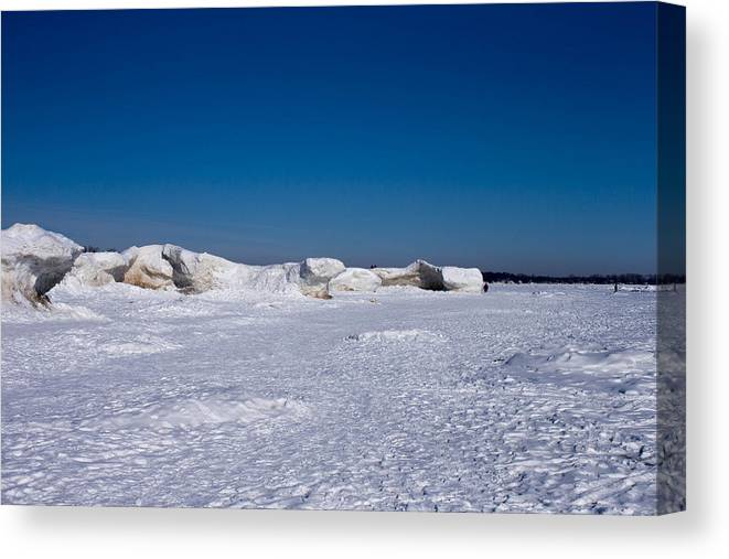 Lake Erie Canvas Print featuring the photograph Icy Shore by Kim French