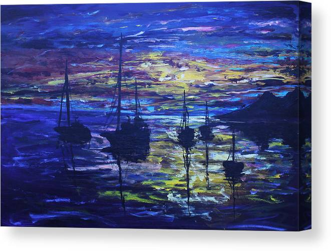 Night Canvas Print featuring the painting In For The Night by Morphd Mohawk
