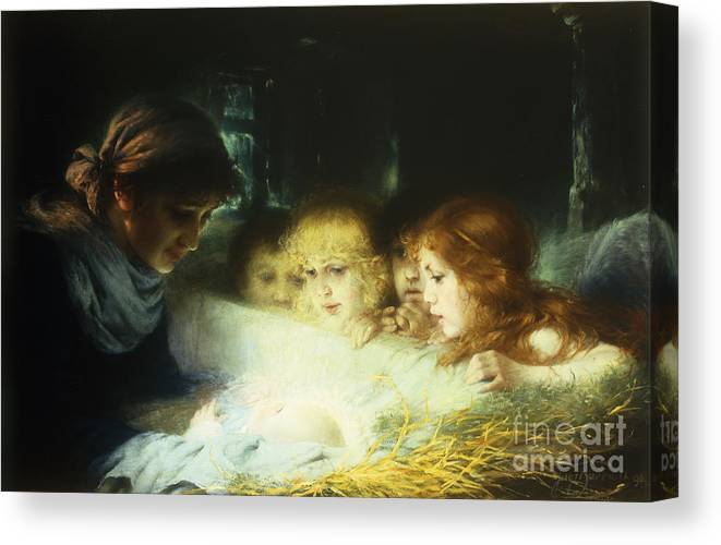 Manger Canvas Print featuring the painting In The Manger by Hugo Havenith