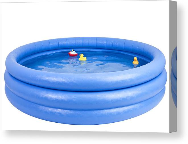 Inflatable Swimming Pool With Rubber Duck And Toy Canvas Print
