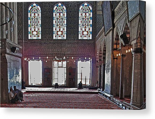 Istanbul Canvas Print featuring the photograph Inside The Mosque by Ian MacDonald