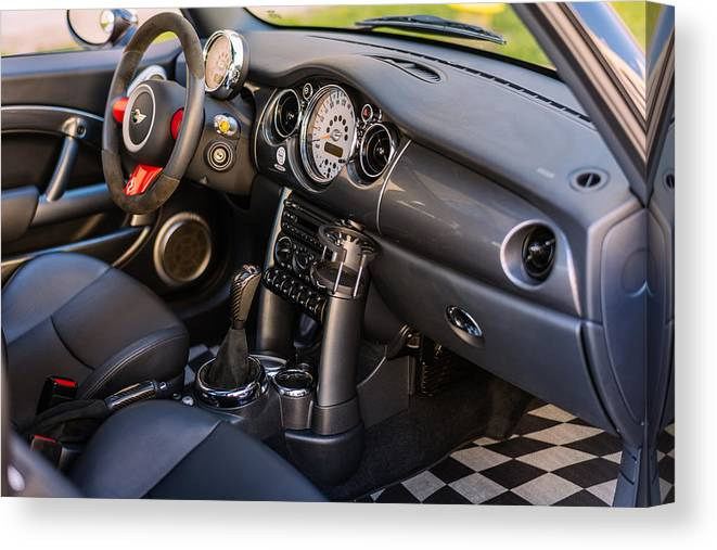 Mini Cooper Interior >> Interior Of Mini Cooper S Jcw Canvas Print