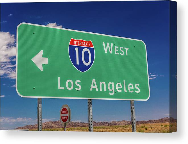Photography Canvas Print featuring the photograph Interstate 10 Highway Signs by Panoramic Images