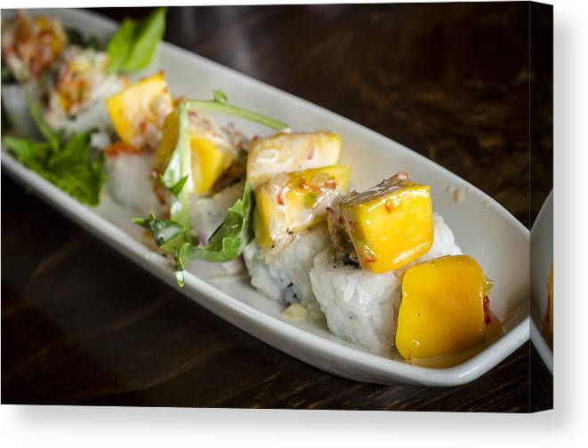 Japanese Canvas Print featuring the photograph Japanese Sushi Rolls With Mango by Irene Theriau